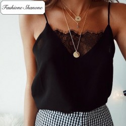 Less than 10 euros - Straps top with lace
