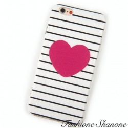 Black and white stripe with heart phone case