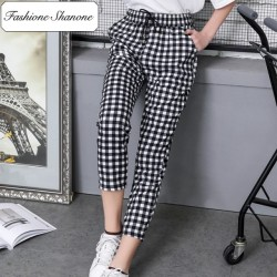 Gingham casual pants