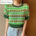 Green short sleeves sweater