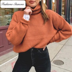 Fashione Shanone - Orange turtleneck sweater
