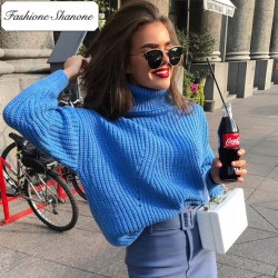 Fashione Shanone - Blue turtleneck sweater