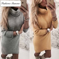 Fashione Shanone - Turtleneck sweater dress