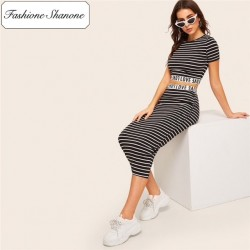Fashione Shanone - Ensemble crop top et jupe longue