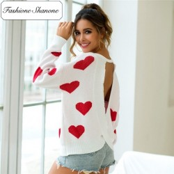 White sweater with small hearts