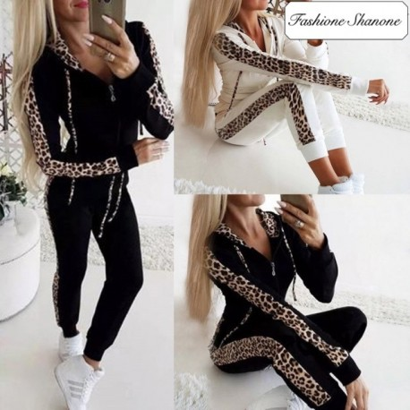 Fashione Shanone - Leopard patchwork tracksuit