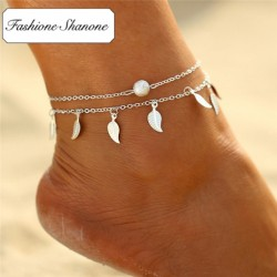 Fashione Shanone - Double anklet with leaves