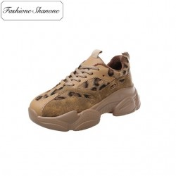 Sneakers with leopard patchwork