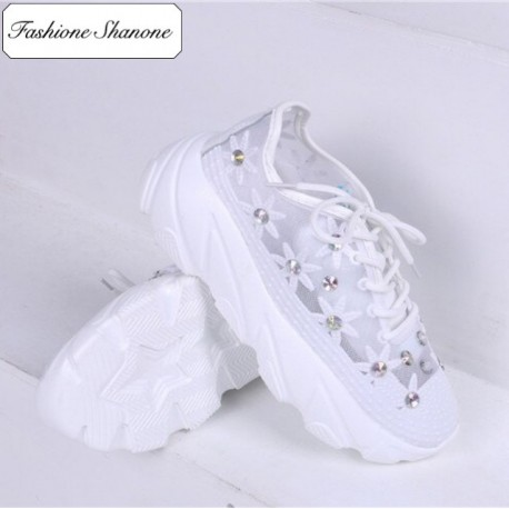 Fashione Shanone - Clear flowery sneakers with diamonds