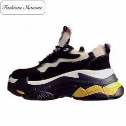 Fashione Shanone - Thick soles sneakers with fur patchworks