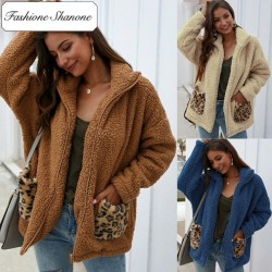Fleece jacket with leopard pocket