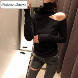 Fashione Shanone - Turtleneck off shoulder sweater