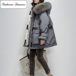 Thick parka with fur hood