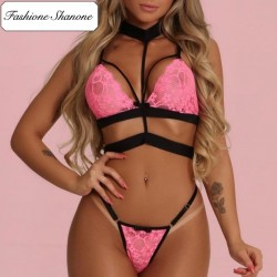 Fashione Shanone - Pink lingerie set with choker