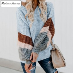 Fashione Shanone - Striped V neck sweater