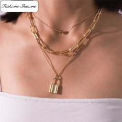 Fashione Shanone - Collier multi couche cadenas amour