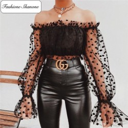Fashione Shanone - Polka dot blouse with see through sleeves