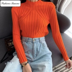 Fashione Shanone - Pull orange col montant