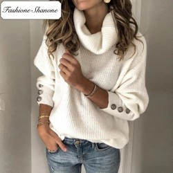Fashione Shanone - Turtleneck sweater with buttons