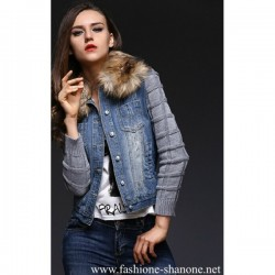 305 - Large fur collar jeans jacket