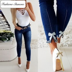 Fashione Shanone - Jeans with pearl bow knot
