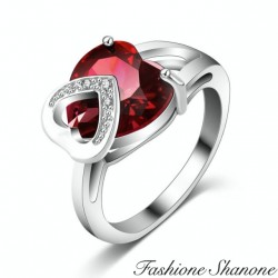 Silver with red heart diamond ring