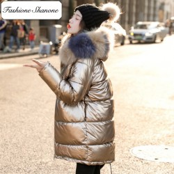 Fashione Shanone - Long metallic down coat