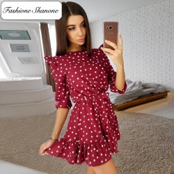 Fashione Shanone - Polka dot red wine dress