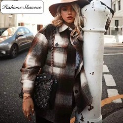 Fashione Shanone - Veste chemise plaid marron