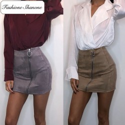 Fashione Shanone - Suede skirt with zipper