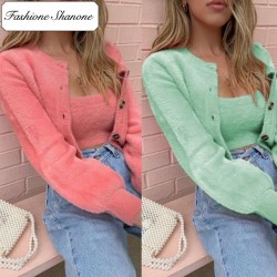 Fashione Shanone - Fluffy top and cardigan set