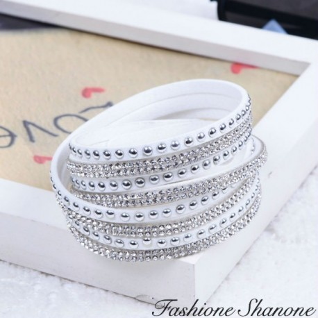 White multi-bracelets bracelet with rhinestones