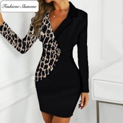 Fashione Shanone - Leopard blazer dress