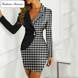 Fashione Shanone - Houndstooth blazer dress