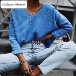Fashione Shanone - Blue V neck sweater