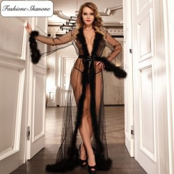 Long transparent dressing gown with fur