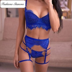 Fashione Shanone - Blue lingerie set with garter