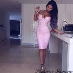 Bodycon pink leather dress