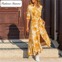 Fashione Shanone - Long palm leaf shirt dress