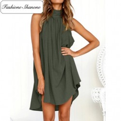 Army green high neck dress