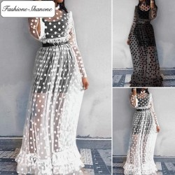 Fashione Shanone - Polka dot transparent maxi dress