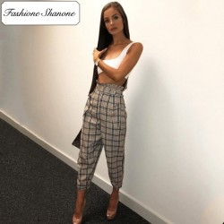 Fashione Shanone - Plaid high waist pants