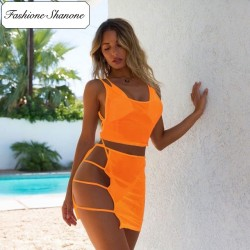 Fashione Shanone - Bikini and transparent crop top skirt set