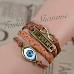 Lot de 4 bracelets marron : oeil, tresse, best friend, infinity