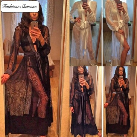 Fashione Shanone - Lace and satin dressing gown