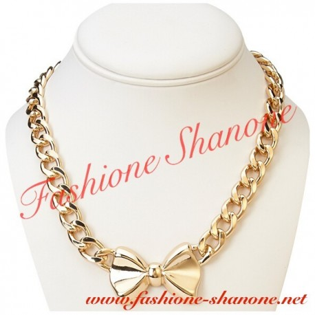 305 - Bow gold necklace