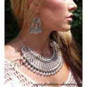 305 - Gypsy carving ball silver necklace