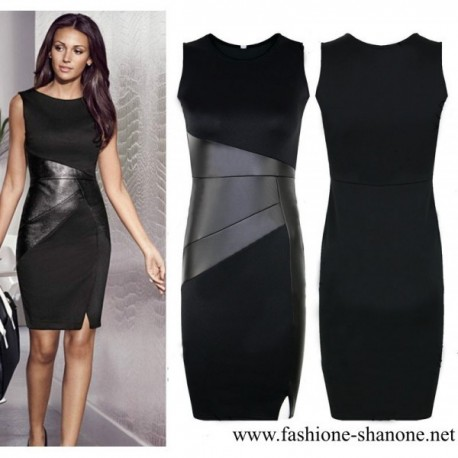 305 - Black dress with leather patchwork