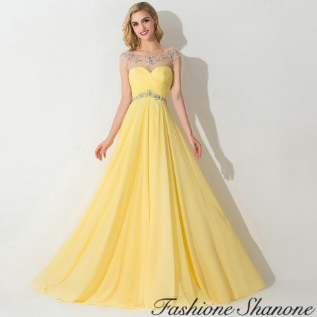 Yellow long dress with rhinestones