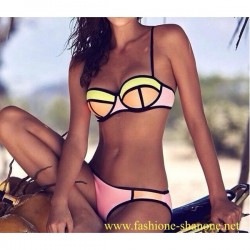 305 - Pastel color shelf bra swimsuit